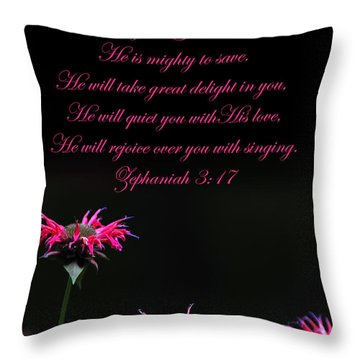 Throw Pillow featuring the photograph Bee Balm And Bible Verse by Randall Branham