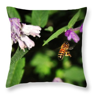 Bee In Flight Throw Pillow by Kaye Menner