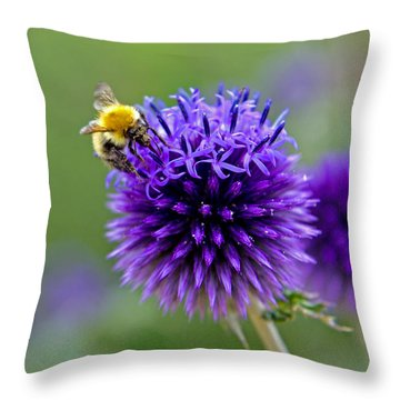 Bee On Garden Flower Throw Pillow