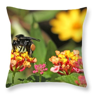 Throw Pillow featuring the photograph Bee On Lantana Flower by Luana K Perez