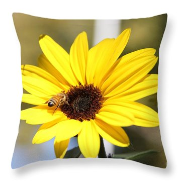 Bee With Small Sunflower Throw Pillow by Yumi Johnson
