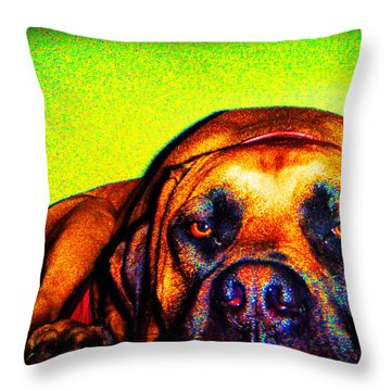 Beefy Girl In Bright Colors Throw Pillow