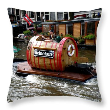 Beer Boat Throw Pillow