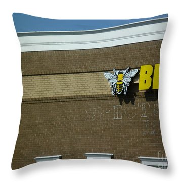 Throw Pillow featuring the photograph Bees On Building by Renee Trenholm