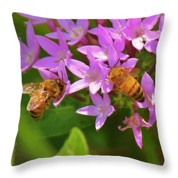 Bees One Throw Pillow by Craig Wood