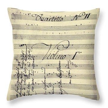 Beethoven Manuscript, 1799 Throw Pillow by Granger
