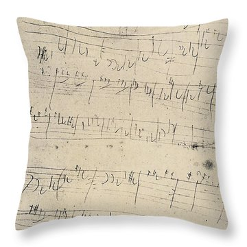 Beethoven Manuscript, 1826 Throw Pillow by Granger