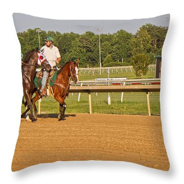 Before The Race Throw Pillow by Betsy Knapp