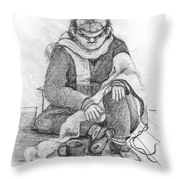 Beggar 2  In The  Winter Street Sitting On Floor Wearing Worn Out Cloths Throw Pillow