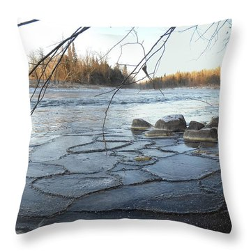 Beginning Of Mississippi River Ice Throw Pillow by Kent Lorentzen