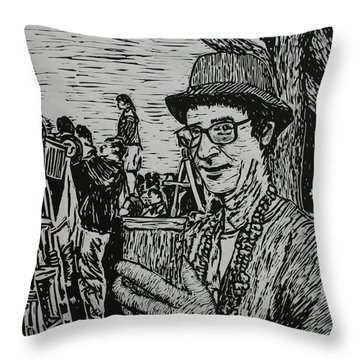Throw Pillow featuring the drawing Behind The Parade by William Cauthern