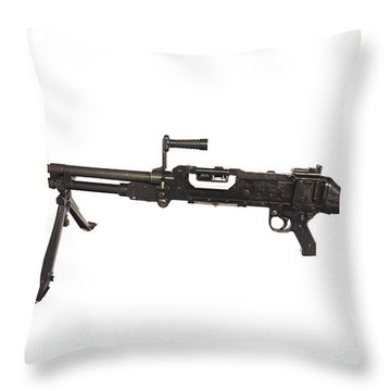 Belgian Fn Mag 7.62mm General Purpose Throw Pillow by Andrew Chittock