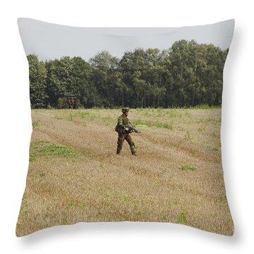 Belgian Paratroopers Proceeding Throw Pillow by Luc De Jaeger