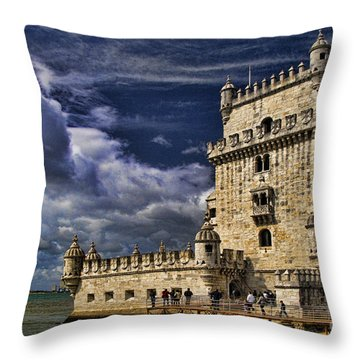 Belum Tower In Lisbon Portugal Throw Pillow by David Smith