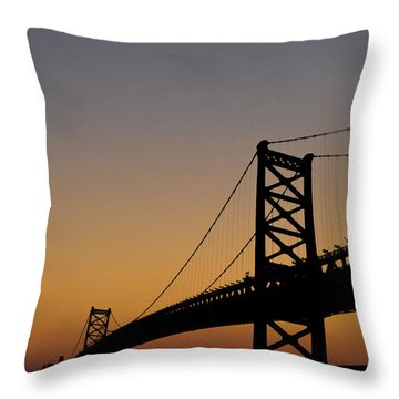Ben Franklin Bridge Sunrise Throw Pillow by Bill Cannon
