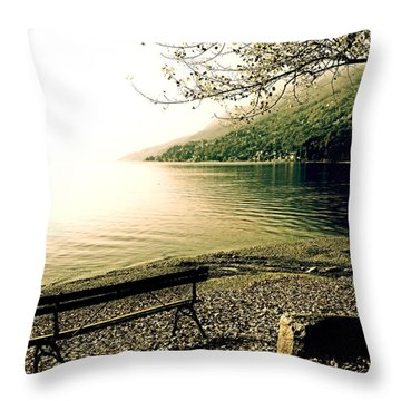 Bench In Autumn Throw Pillow by Joana Kruse