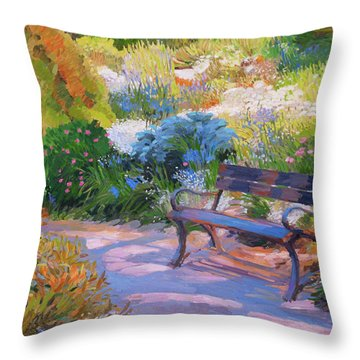 Bench On Margaret Island Throw Pillow