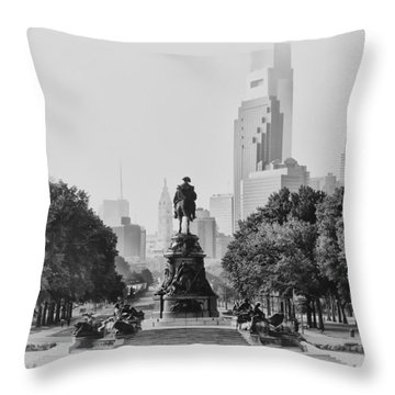 Benjamin Franklin Parkway In Black And White Throw Pillow by Bill Cannon