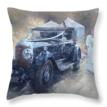 Bentley And Bride  Throw Pillow by Peter Miller