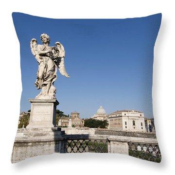 Bernini Statue On The Ponte Sant Angelo. Rome Throw Pillow by Bernard Jaubert