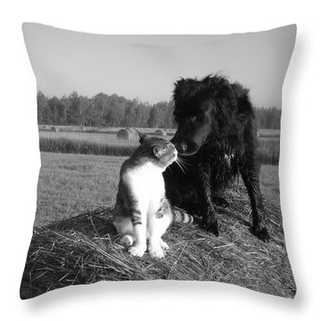 Best Buddies Black And White Throw Pillow by Kent Lorentzen