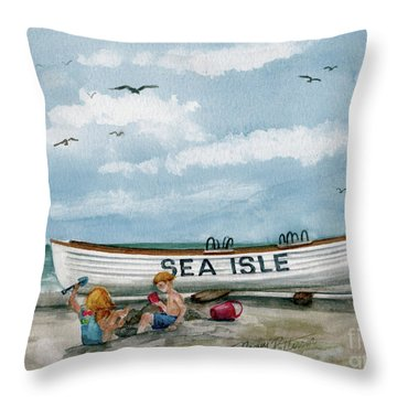 Throw Pillow featuring the painting Best Buddies In Sea Isle  by Nancy Patterson