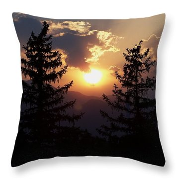 Between Two Trees Throw Pillow by Clarice  Lakota