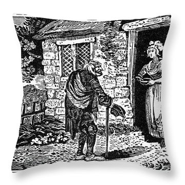 Bewick: Beggar Throw Pillow by Granger