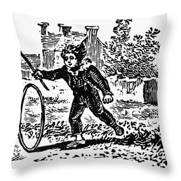 Bewick: Boy With Hoop Throw Pillow by Granger