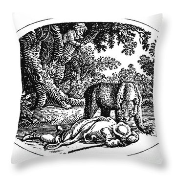 Bewick: Man And Bear Throw Pillow by Granger