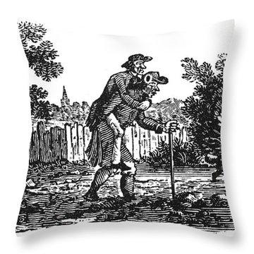 Bewick: Man Carrying Man Throw Pillow by Granger