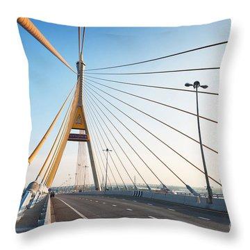 Bhumipol Bridge Throw Pillow by Atiketta Sangasaeng