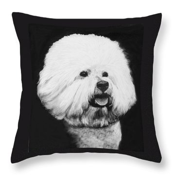 Throw Pillow featuring the drawing Bichon Frise by Rachel Hames
