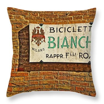 Biciclette Bianchi Throw Pillow