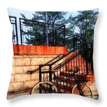 Bicycle By Train Station Throw Pillow by Susan Savad