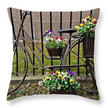 Throw Pillow featuring the photograph Bicycle In Salem by Caroline Stella