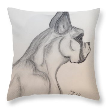 Throw Pillow featuring the drawing Big Boxer by Maria Urso