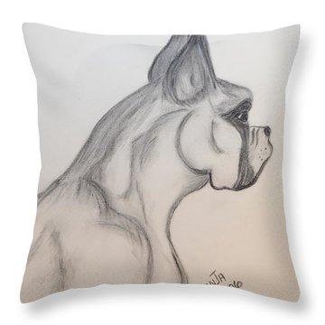 Big Boxer Throw Pillow by Maria Urso