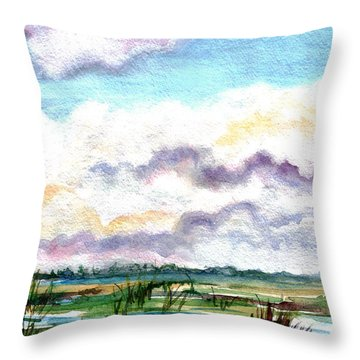 Throw Pillow featuring the painting Big Clouds by Clara Sue Beym
