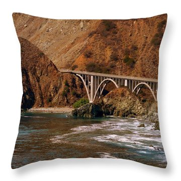 Big Creek Bridge Close Throw Pillow by Jeff Lowe