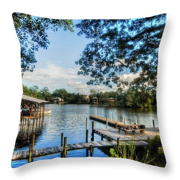 Big Daddys Harbor Throw Pillow by Michael Thomas