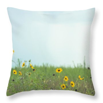 Big Eyed Susan In Watercolored Summer Throw Pillow by Ellie Teramoto
