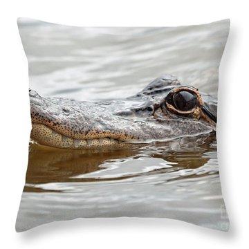 Big Eyes Baby Gator Throw Pillow by Carol Groenen