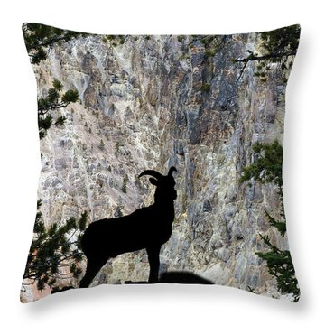 Throw Pillow featuring the photograph Big Horn Sheep Silhouette by Dan Friend