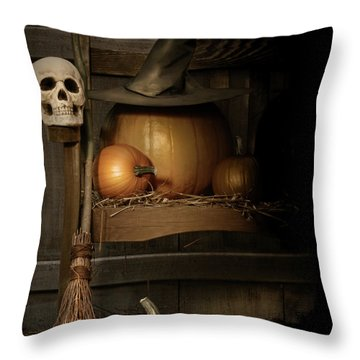 Big Pumpkin With Black Witch Hat And Broom Throw Pillow
