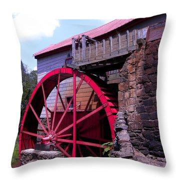 Big Red Wheel Throw Pillow by Sandi OReilly