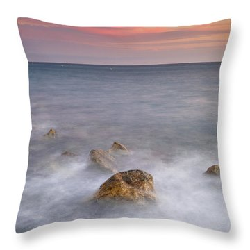 Big Rock Against The Waves Throw Pillow by Guido Montanes Castillo