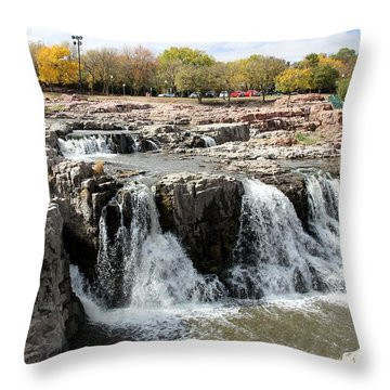 Big Sioux River In Sioux Falls Throw Pillow by Yumi Johnson