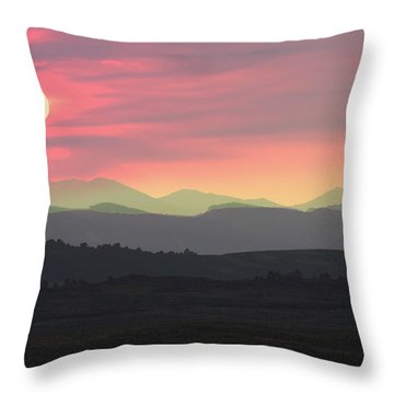 Bighorns At Sunset Throw Pillow