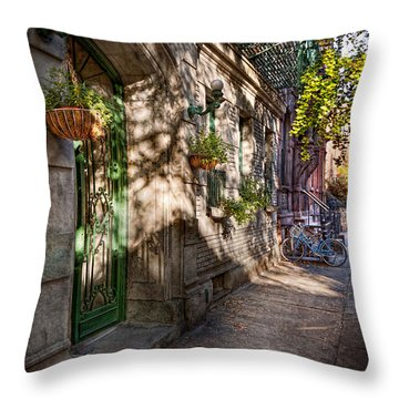 Bike - Ny - Greenwich Village - The Green District Throw Pillow by Mike Savad